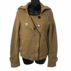 Free People Camel Wool Moto Military Jacket Coat